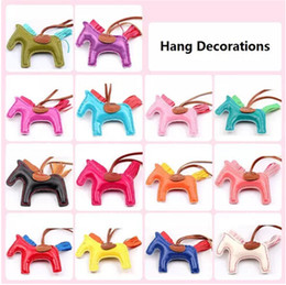 Wholesale Tassel Charm Wholesale - Fashion Cute Women's Bag&Car Pendant High-end Handmade PU Handbag Key Chains Tassel Rodeo Horse Bag Charm