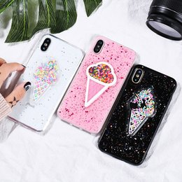 Wholesale Bling Blackberry Covers - Dynamic Ice Cream Phone Case For iphone X 7 High quality Soft TPU Case Fashion Glitter Bling Back Cover Lovely Cartoon Cases For samsung S9