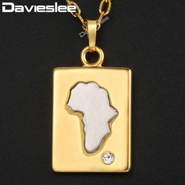 Ожерелье из белого золота онлайн-Davieslee Womens Mens Dog Tag Pendant Necklace White Yellow Gold Africa Map Shaped CZ Pendants For Men Woman Jewelry Gift DGP314
