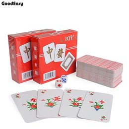 Wholesale Chinese Traditional Family - KR Paper Mahjong playing cards set with 2 dices&Flannelette bag Chinese Traditional Classic Card Games Family Table Game
