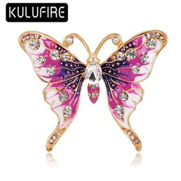Wholesale Heart Drop Clothing - KULUFIRE Butterfly Brooch Pin Top Grade Large broches de navidad enamel pins Clothing Costume Broch Jewellery scarf clip