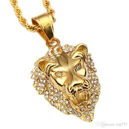 Wholesale Lion Head Silver Pendants - 2018 Pendant Necklace Fashion Hip Hop Lion Head Crystal Rhinestone Titanium Steel Personality Men Jewelry Exquisite Necklaces
