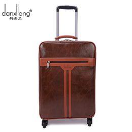 Wholesale Travel Trolley Wheels Luggage Bag - DANXILONG 2016 Man High Quality Trolley Luggage Bags Men Business Boarding Suitcase Women PU Leather Travel Wheels Bag Brown Hot