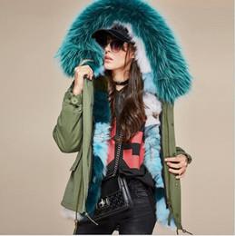 giacche per le signore Sconti Jazzevar Fodera in pelliccia verde verde pelliccia di volpe verde fodera invernale in tela verde militare mini parka da donna