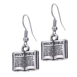 2019 charmes de la sainte bible 12pair / lot New Fashion boucle d'oreille ton argent antique