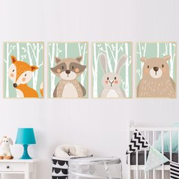 Wholesale giraffe baby rooms - Forest Cute Animals Fox Rabbit Bear Giraffe Canvas Painting Art Print Poster Nursery Wall Picture Kids Baby Room Home Decor