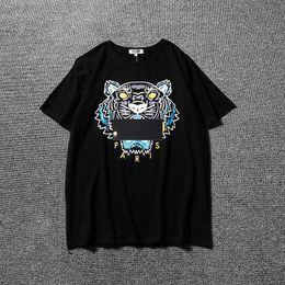 Wholesale Women Shorts For Summer - 2018 Summer Brand Designer T Shirts For Men Tops Tiger Head Letter Print T Shirt Mens Clothing Short Sleeve Tshirt Women Tops White S-2XL