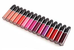 diferentes colores de labios Rebajas Nuevo maquillaje retro mate líquido color de labios a prueba de agua esmalte de brillo de labios 15 colores diferentes con nombre inglés DHL envío gratis