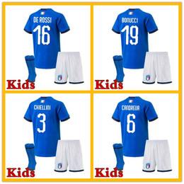 Wholesale Italy Blue Soccer Jerseys - Buffon ITALY kids soccer Jerseys 2018 WORLD CUP home blue CANDREVA CHIELLINI home EL SHAARAWY BONUCCI INSIGNE BERNARDESCHI FOOTBALL SHIRTS