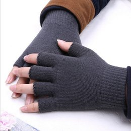 Gants tricotés gris en Ligne-NIBESSER 1PC Nouveau Gris Unisexe Hiver Chaud Tricoté Mitaines Demi Doigts Gants Magiques Mitaines De La Mode Féminine Gants Chauds Hiver
