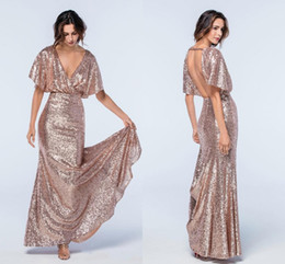 Wholesale Gold Sparkle Shorts - Sparkle Rose Gold Sequins Mermaid Evening Dresses V Neck Short Sleeves Floor Length Backless Evening Gowns Formal Dresses