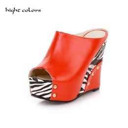 Wholesale Platform Size 32 - Plus Size 32~43 Women High Heels Slides Open Toe Fashion Zebra Print Women Platform Wedges Slippers Ladies Casual Summer Shoes