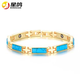 Wholesale Turquoise Design Bracelets - New Magnetic Health Care Bracelet Creative design Gold Plated Copper Turquoise Bracelets &Bangles for women Men Gifts Jewelry Wholesale