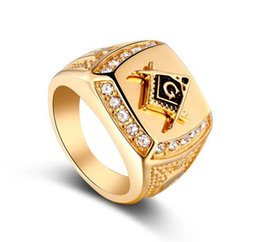 Wholesale hip hop jewelry wholesale china - NEW 24k Gold Classic Men's Punk Style Freemason Masonic Signet Ring Hip Hop Iced Out Bling Rings Fashion Jewelry Wholesale