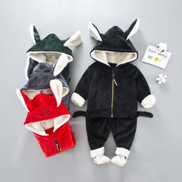 3985437be77 Winter Warm New Baby Hooded Clothing Set Kids Tops Coat Pants Jacket  Outerwear Children Clothes