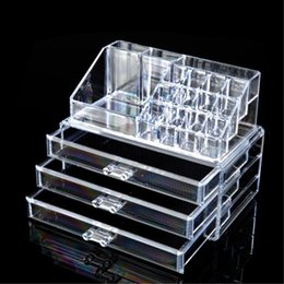 Wholesale Clear Organizer Drawers - Wholesale-Multi-style Drawers jewelry Box Organizer Holder Case Makeup Holder Clear Acrylic Skin Care Set Display Cabinet EQC347 POK