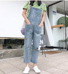 d105da10c0c1 2018 Women s One Piece Cotton Wide Leg Jumpsuit Jeans Overoll For Women  Loose Denim Jumpsuit Autumn Salopette Femme Pocket Holes