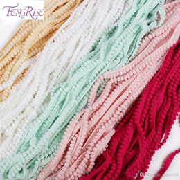 Wholesale lace fabric trim wholesale - FENGRISE Sewing Accessories 10 yards 10mm Lace Pompom Trim Pom Pom Tassel Ball Fringe Ribbon DIY Materials Fabric Cord