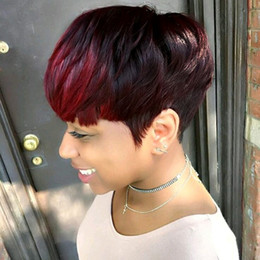 Le bande di parrucche nere online-Parrucche corte huaman parrucche rosse brillano frangia pixie taglio capelli umani senza cappuccio parrucche per donna nera