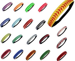 Wholesale Fast Bands - wholesale 20 Colors Women Softball Headbands Seamed Leather Baseball Fast Pitch Hair Bands Bandage On Head Gum Hair Accessory 5pcs