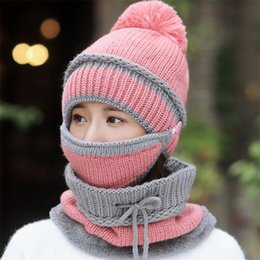 knitted mufflers Canada - IANLAN Winter Thermal 3 Pcs Sets Hat + Mask + Muffler Women Knit Wool Cap Scarf Ladies Riding Sets Beanie Neckerchiefs IL00173
