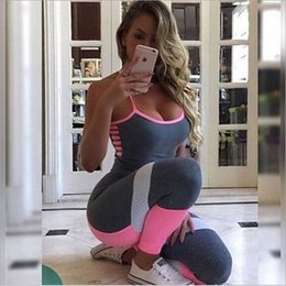 Wholesale Workout Clothing For Women - Wholesale-Women's Sports YOGA Workout Gym Fitness Leggings full length Pants Jumpsuit Athletic Clothes for gym running set sportwear