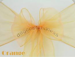 2019 esticar faixas grossistas Atacado-Frete grátis 150PCS laranja Organza Chair Sashes Bow Cover Banquete, preço de promoção, bom serviço personalizado e qualidade