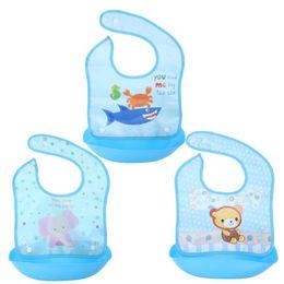 Wholesale Apron Patterns - Boys Baby Bibs Blue Cotton Removable Baby Newborn Cartoon Aprons Silicone Waterproof Print Pattern Feeding Bib Tools