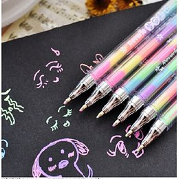 Wholesale Cute Highlighters - Toys for Children Cute Colorful Ink 6colors Highlighter Pen Marker Educational Learning Stationery Point Pen