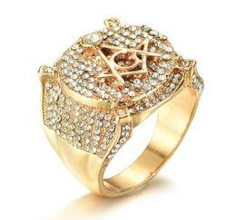 2020 diamantring 4.25 Neue modische Weinlese-Luxus-Freimaurer-Großhandelsringe mit dem Ring der simulierten Diamant-Hip-Hop-Männer für freies Verschiffen günstig diamantring 4.25