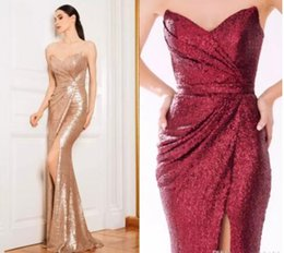 Wholesale Strapless Mermaids Bridesmaid Dress - Split Prom Dresses 2018 Sexy Mermaid Rose Gold Sequins Floor Length Cheap Arabic Evening Gowns Bridesmaid Party Dress