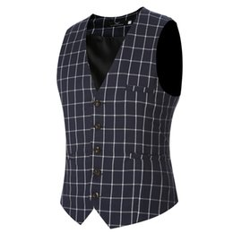 Wholesale Slim Hot Plaid Suit - Top Hot New Fashion Man Suit Vest Formal Slim Fit Thin Grid Plaid Men Waistcoat Tops Free Shipping Big Size 4XL
