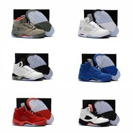 Wholesale gold shoes for girls - Children 5 Basketball shoes for Boys Girls OG Black 5s Olympic metallic Gold White Cement Youth Sports Sneakers Kids size EU28-35