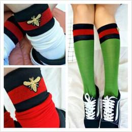Wholesale Knee High Football Fashion Socks - 3 Colors Fashion Socks Red Black Striped Stockings Bees Embroidery Tide Brand Socks Knee High Sports Socks 2pcs pair CCA9330 30pair