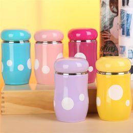 Wholesale Cute Travel Mugs - Fashion Stainless Steel Mug Creative Design Mushroom Vacuum Cup Cute Multi Color Water Bottles Heat Resistant Portable 10wy C