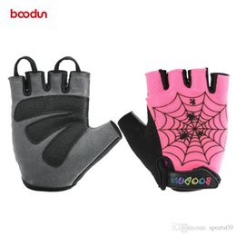 Wholesale kids cycle gloves - Brand Kids Cycling Cartoon Gloves Half Finger Shockproof Sports Outdoor MTB Road Bike Bicycle Gloves For Children Kids Boys Spaidman Groves