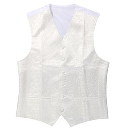 Wholesale Ivory Wedding Waistcoats - New Mens Top Swirl Wedding Waistcoat (ivory white 2XL UK 44)