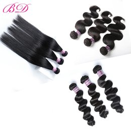 Wholesale Remy Virgin Hair Extensions - BD Cheap Brazilian Virgin Hair Extensions Mink Straight Body Wave Loose Wave Remy Human Hair Weave Extensions