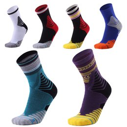 Wholesale wicking running socks - Men's Wicking Cushion Multi Performance Outdoor Sports Hiking Walking Trekking Cushion Crew Socks Towel Bottom Non-Slip Sport Socks G487Q