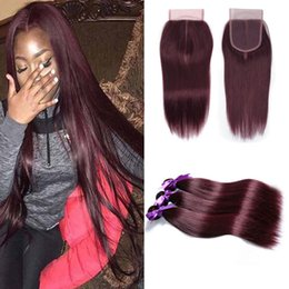 Wholesale colored hair wholesale - Peruvian Human Hair 3 Bundles with 4X4 Lace Closure Straight 99J Burgundy Dark Red Virgin Colored Hair Weave Wefts Extension 12-24 Inch