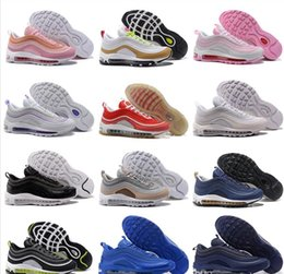 Wholesale Soft Bullet - 97 Mens womens Low Running Shoes Cushion og triple white black metallic gold silver Anniversary vapormax Sneakers 97S bullet Sports Trainers