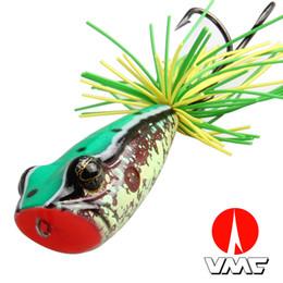 2019 la pêche à la grenouille Appât de pêche artificielle Top Water Floating Fishing Lure VMC 3/0 Crochet double pour Pike Bait 58 MM 11.5G Grenouille Popper Fishing Lure la pêche à la grenouille pas cher
