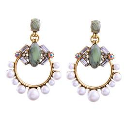 Wholesale Artificial Pearl Jewelry - Newly brand pearl oyster earrings artificial gemstone earring hoop anomaly artificial stone earring stud dangles fashion jewelry