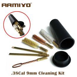Kit per pulizia spazzola pistola online-Armiyo. 38Cal 357Cal 9mm Gun Portable Storage Kit di Pulizia Pistola Barrel Cleaner Rod Bore Brush Shooting Accessori 7 Pz / set
