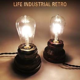 Interruttori lampada tubi online-Lampada da tavolo da comodino vintage a 2 tubi color antracite con retroilluminazione a led per lampade da tavolo E27 a led per camera da letto escritorio cafe studio