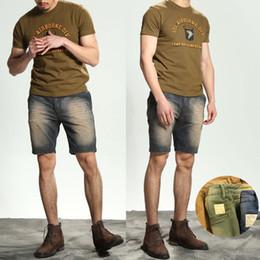 Pantalones cortos marrones online-100 (%) Algodón Primavera Verano Tendencia personalizada Pantalones casuales para hombre Pantalones cortos viejos retros simples Hombre azul / marrón / verde
