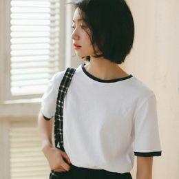 verde de d camiseta Desconto Harajuku Lolita Branco Verde Cáqui Camiseta de Manga Curta Mulheres Tops de Verão Coreano Moda Solto tudo Coon Schoolgirl tops D'679