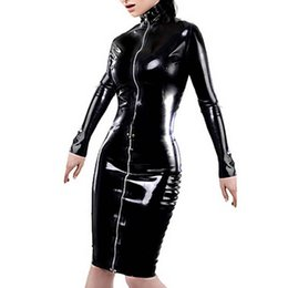 Wholesale Latex Sex Costumes - Plus Size XXL Free Shipping Women Black Sexy Leather Dress Latex Club Wear Costumes Clothing PVC Lingerie Catsuits Cat Suits Sex Products