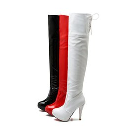 Wholesale high heels pole - Hot Sale Womens Ladies Knee High Boots Shoes Platform High Heel Zip Sexy Pole Dancing Boots FF-B307 Size Customized By Favofans