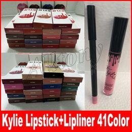 Wholesale Matte Lipgloss - 41colors KYLIE JENNER lipstick lipgloss lipliner Lipkit Velvetine Liquid Matte kits Velvet Makeup liner pencil in stock keyshadow beauty